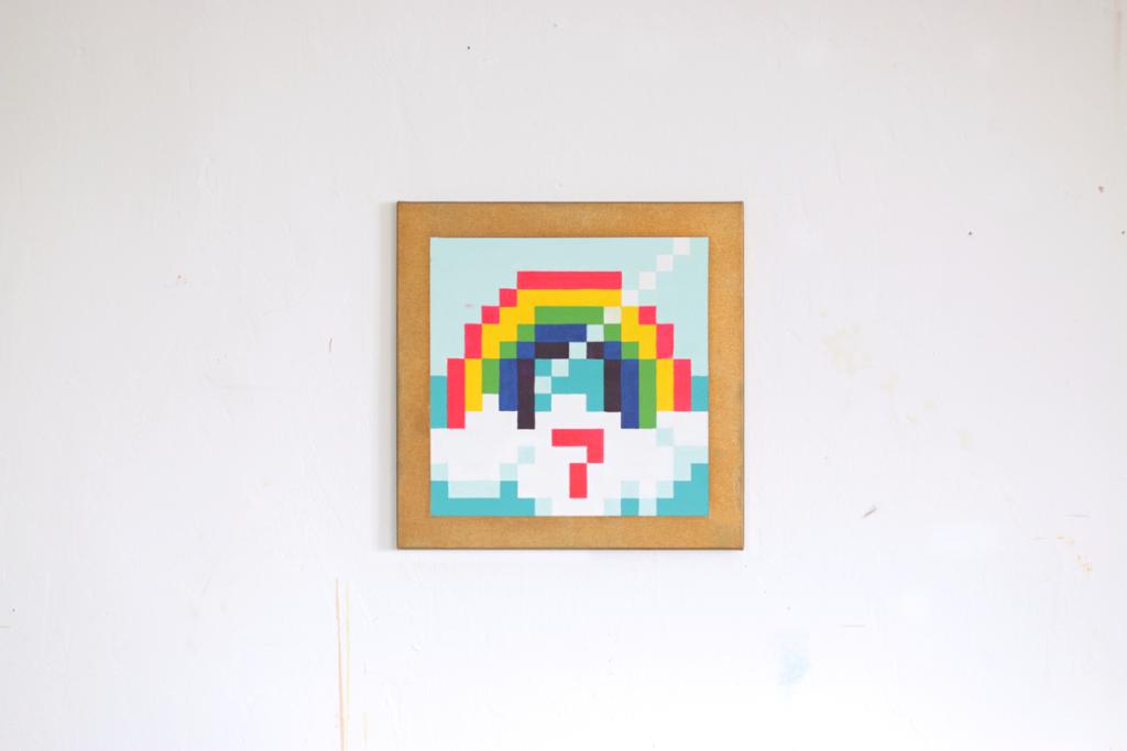 Tushita said Hi! acrylic painting fine pixel art ivo zibulla leipzig