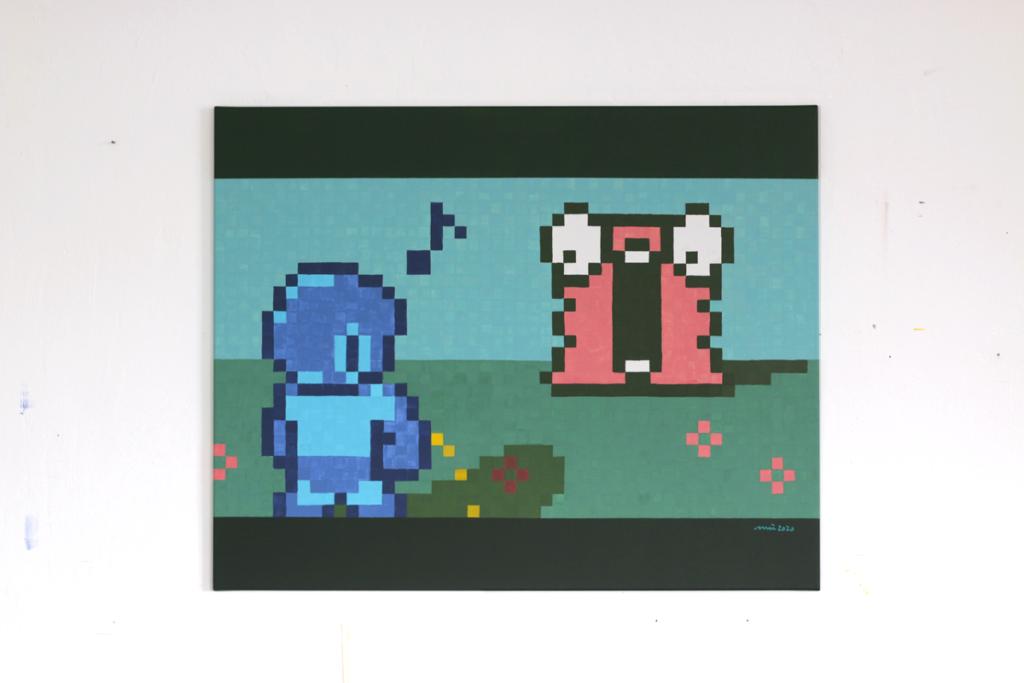 pixel heroes rockman takes a break acrylic fine pixel art painting ivo zibulla leipzig