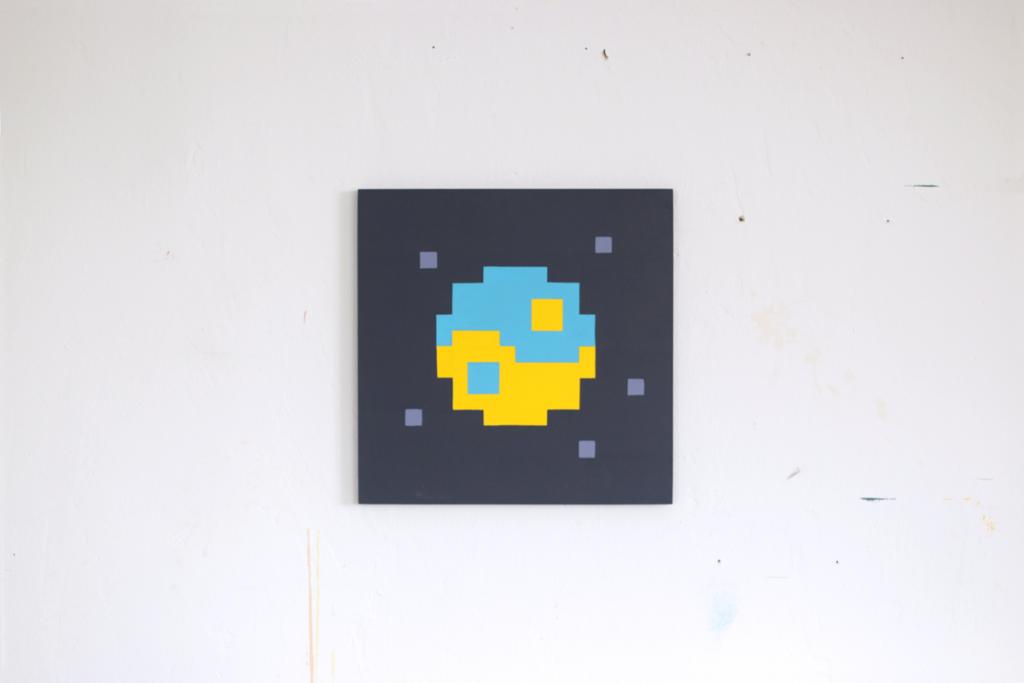 Welt acrylic painting fine pixel art ivo zibulla leipzig