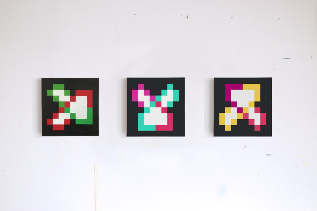 formen der energie abstract acrylic pixel fine art painting ivo zibulla leipzig