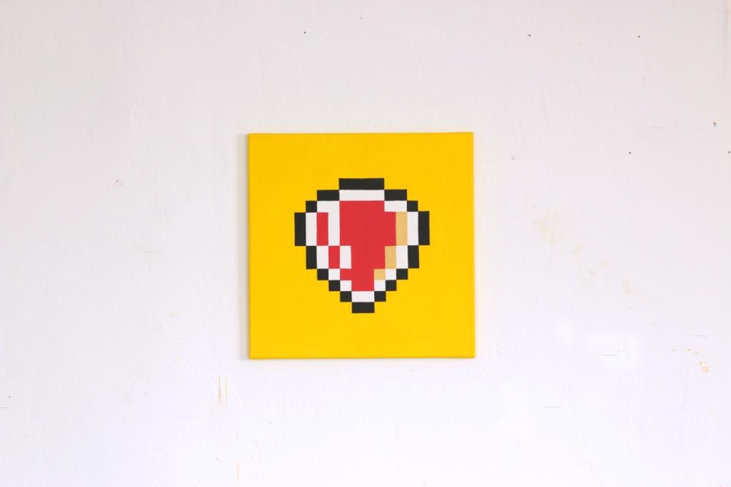 verteidigen acrylic fine pixel art painting ivo zibulla leipzig