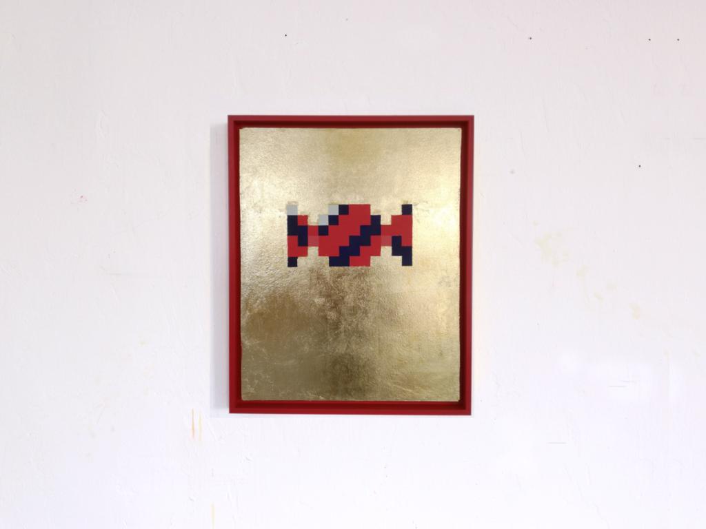 bonboom pixelikonen iconic pixel fine art acrylic gold leaf painting ivo zibulla leipzig