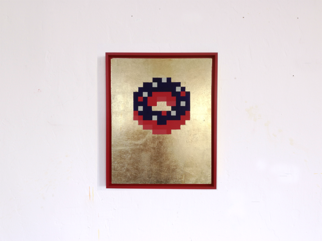 donot pixelikonen iconic pixel fine art acrylic gold leaf painting ivo zibulla leipzig