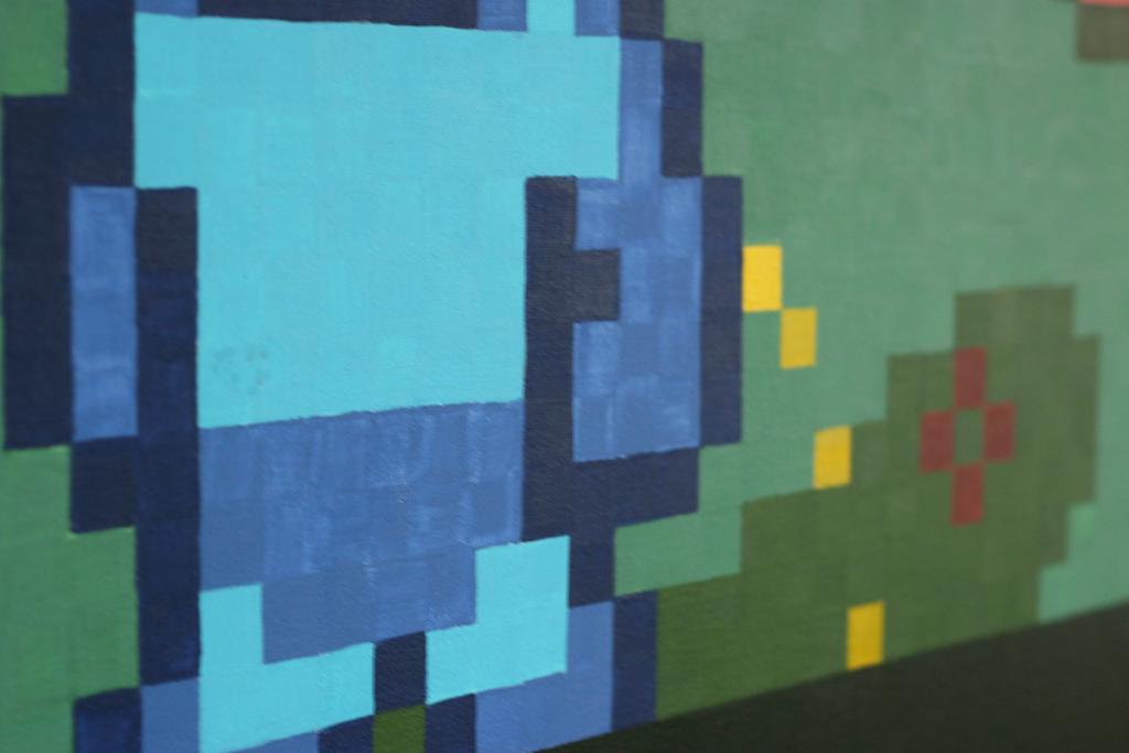 pixel heroes rockman takes a break detail shot acrylic fine pixel art painting ivo zibulla leipzig