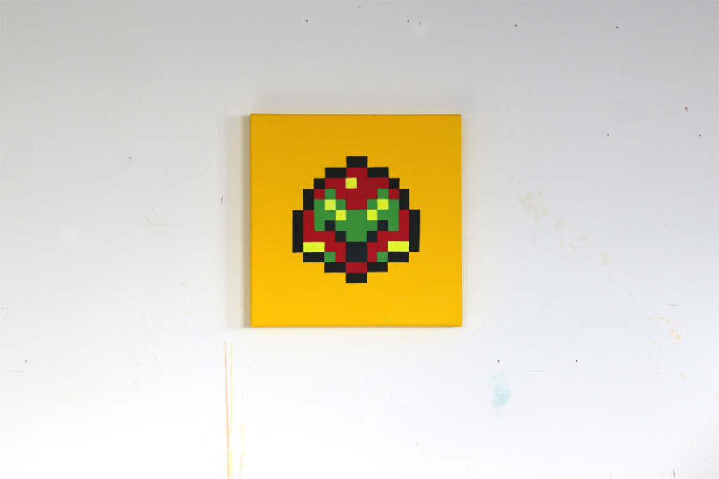 samus aran metroid nintendo pixel heroes acrylic painting ivo zibulla leipzig