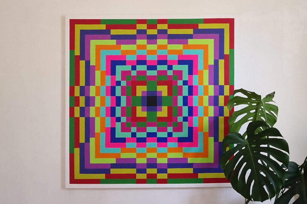 fine acrylic painting mandala pixelart ivo zibulla leipzig